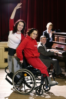 Culture Minister Nelson McCausland, Chair of the N.I 2012 Leadership Group provides the music for Luminous Soul, a 3 year disability dance project funded by the Legacy Trust UK, with Lorraine McDowell, Director of Operations Arts Council N.I, with project