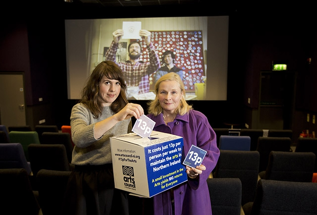 Alice Quigley from Queen's Film Theatre and Noirin McKinney, Director of Arts Development at the Arts Council prepare for a very special screening of Good Vibrations with tickets priced at just 13p as part of the No More Cuts to the Arts campaign.