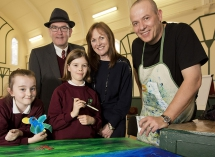 Author and illustrator Petr Horacek is pictured with Damian Smyth, Arts Council  and Liz Canning, Booktrust, as well as pupils from  Bunscoil Mhic Reachtain, Brea Keenan and Mia Lynch