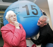 Baroness May Blood MBE and comedian Tim McGarry, Trustee of the  Grand Opera House, Belfast, celebrate 15 years of National Lottery Funding