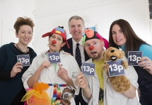 Joan Dempster, Arts Development Officer at the Arts Council, Máirtín Ó Muilleoir, Sinn Fein MLA for South Belfast, and Janine Walker, General Manager of Arts Care, are pictured with Clown Doctors, Dr Sparky, Jennifer Jordan and Dr Jumble, Patrick Sanders