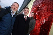 Arts Minister Nelson McCausland is pictured at the artwork with Tony Kennedy, Arts Council of Northern Ireland, and artist Kevin Killen