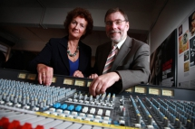 Culture, Arts and Leisure Minister, Nelson McCausland with Roisín McDonough,  Chair of the Creative Industries Innovation Fund Consortium and Chief Executive of the  Arts Council of Northern Ireland
