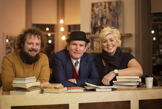 Pictured (L-R) are ACES awardees, writer Scott McKendry, Dr Damian Smyth, Head of Literature, Arts Council of Northern Ireland and writer Dawn Watson.