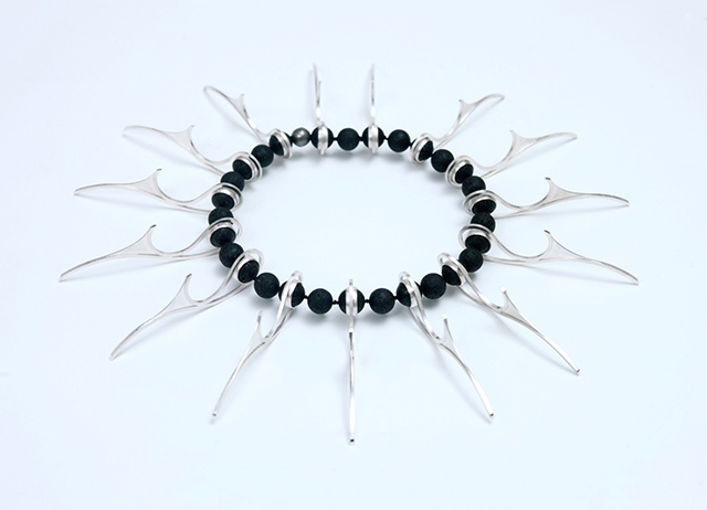 Silver Necklace with Lava Beads by Eddie Doherty