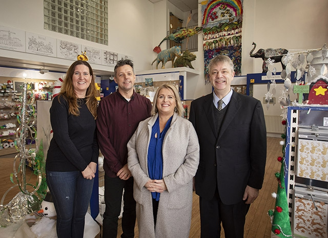Picture (L-R) is Gail McGarvey, Play Resource, Darren Ferguson, Gilly Campbell, Arts Council of Northern Ireland and Olivier Urbain, Director, Min-On Music Research Institute.