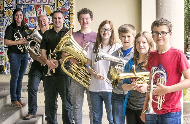 Pictured are: Julie- Anne Stevenson, (cornet); Ivor Stevenson MBE, (euph);  Richard Poole, (cornet); Andrew Milligan, (bass); Cathryn Lynch, (percussion);  Reece Moore, (baritore); Sophie Hueston, (horn) and Matthew Kingston, (cornet).