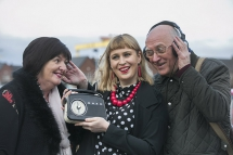 Artful Ageing participant Rachel Barrett, east Belfast writer Jan Carson and project participant Ron Bagwell