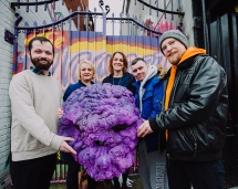 Pictured are: Christopher White (MYAC), Lorraine Calderwood (Arts Council), Orlaith Moley (PHA) with project participant Nathan Fitzpatrick and artist Conor McGinley.