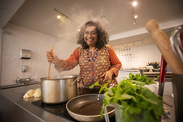 Pictured is celebrity chef and author, Asma Khan