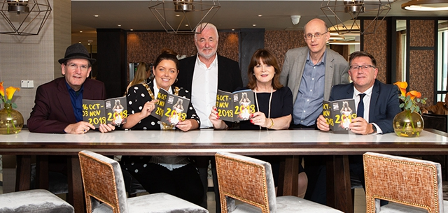 Damian Smyth, Head of Drama & Literature ACNI, Chairman of Tourism NI Terence Brannigan, Cllr Deirdre Hargey Lord Mayor of Belfast, Chairman Professor Jackie McCoy, Artistic Director, Richard Wakely of BIAF & Jonathan Stewart, Director of British Council