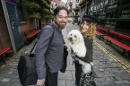 Pictured is singer-songwriter, Fiona O'Kane aka Larks, from Belfast with comedian, Peter E. Davidson, from Derry-Londonderry, who will bring the magic of Culture Night Belfast to Brussels. Also pictured is Louis the dog mascot.