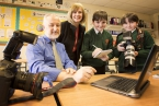 Pictured is Jim McCafferty with Fionnuala Walsh from the Arts Council and budding writers Aaron Curran and Dillon McKinney (year 8).