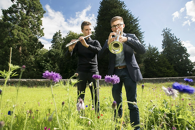 Flautist, Kris Swain, from Enniskillen and Trumpeter, John Kerr, from Omagh, tune up ahead of their performance at the 2017 Clandeboye Festival's, Young Musicians of the Future Concert