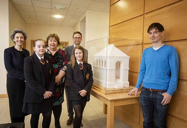 Pictured (L-R) are pupils Evie Close and Kenadie Butler with Suzanne Lyle, Arts Council, Maeve Walls, Department For Communities, teacher, Robin Cahoon and artist, Brendan Jamison with his sugar cube sculpture, Henry Tate's Mausoleum.