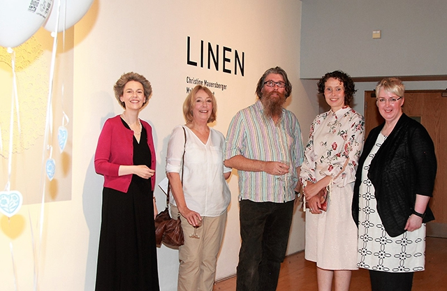 Suzanne Lyle (Head of Visual Arts at Arts Council NI) with local artists Sandra Turley, Damian Magee and Jill Phillips and Jan Irwin (Craft NI) at the launch of August Craft Month