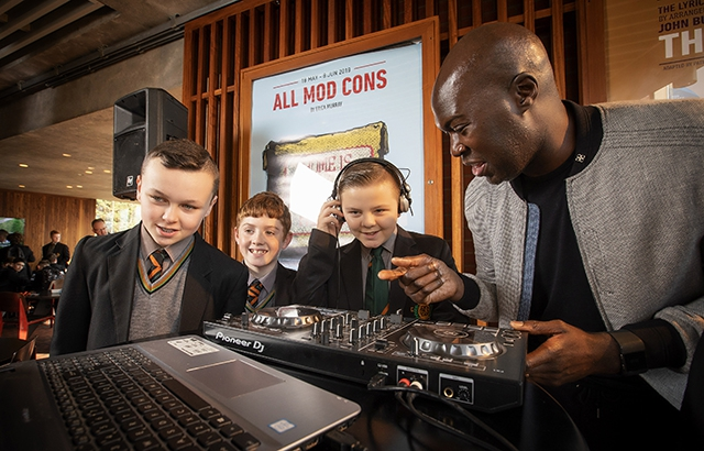 Pictured (L-R) are St Mary's students, Stephen White, Aton McVeigh and Anton McVeigh with Kwame Daniels, Bounce Culture.