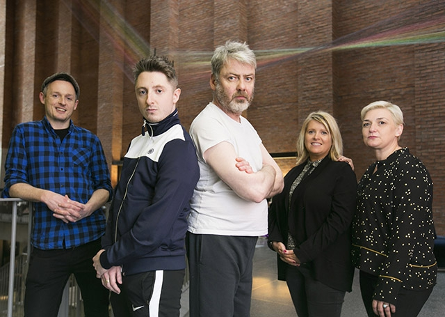 Pictured (L-R) are Patrick J O'Reilly, Tinderbox, actor Ryan McParland, actor Charlie Bonner, Gilly Campbell, Arts Council, and Emma Jordan, Prime Cut Productions.