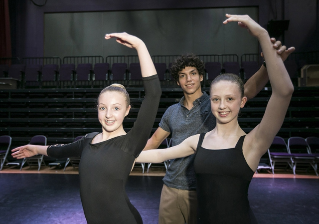 Young ballerinas, Alana Campbell (13) and Leah Howell (13) pictured with Issac Hernández, Lead Principal at English National Ballet and one of the biggest names in ballet.
