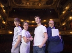 Pictured at rehearsals (L-R) are Nathan Johnston, Lara Mulgrew, Louis Fitzpatrick and Ian Wilson, Grand Opera House.