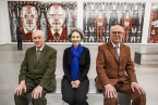 Pictured with artists Gilbert and George is Suzanne Lyle, Head of Visual Arts, Arts Council of Northern Ireland.  Visit www.artscouncil-ni.org