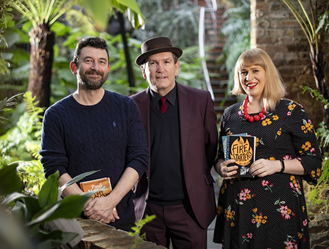 Jan Carson and Paul McVeigh pictured with Damian Smyth, Head of Literature and Drama at the Arts Council of Northern Ireland.