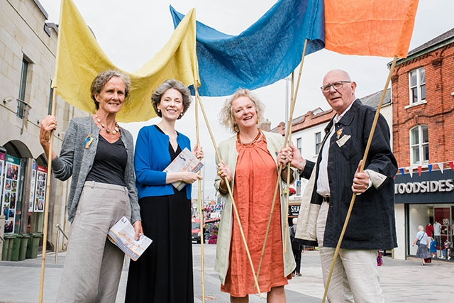 Pictured are Professor Jane McCann, Suzanne Lyle, Arts Council Northern Ireland and Founders of R-Space Gallery and Linen Biennale, Anthea McWilliams and Robert Martin, launching the inaugural Linen Biennale.