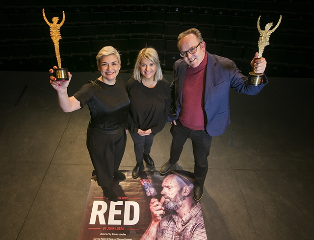 Pictured are principal funder, Gilly Campbell, Arts Council of Northern Ireland, award-winning director, Emma Jordan and Jimmy Fay, Executive Producer, Lyric Theatre.