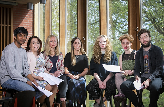 Pictured are playwrights, Breman Rajkumar, Shirley-Anne Bonner, Martha Barnett with Belfast International Arts Festival's Sarah Nelson and playwrights Meghan Tyler, Alice Malseed and Lee Coffey.