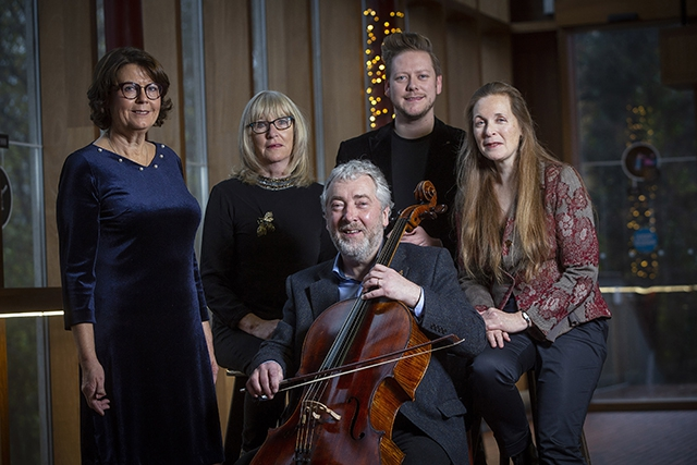 (L-R)  Four leading artists, writer, Susan McKay, poet, Moyra Donaldson, musician/composer, Neil Martin and composer, Deirdre Gribbin, pictured with Ciaran Scullion, Arts Council of Northern Ireland