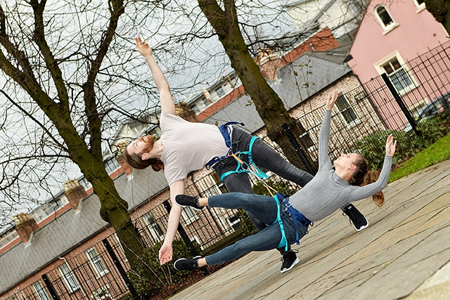 David Ogle and Vasiliki Stasinaki from Maiden Voyage Dance perfecting 'Each for Other' a new Dance Exposed commission from award winning Scottish choreographer Jack Webb ahead of this year's Belfast Children's Festival, supported by the Arts Council of No