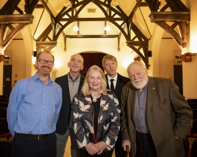 Dr Philip McGowan (Queen's University Belfast), International Visiting Poetry Fellow Mark Doty, Noirin McKinney (Arts Council of Northern Ireland), Glenn Patterson (Seamus Heaney Centre for Poetry) and esteemed poet Michael Longley