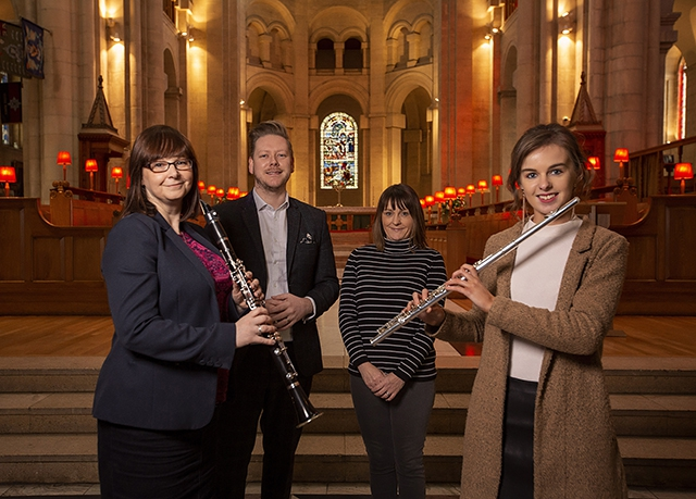 (L-R) Pauline Klein, Manager, Ulster Youth Orchestra, Ciaran Scullion, Head of Music, Arts Council of Northern Ireland, Oonagh Snoddy, Department for Communities, and Katrina Cuddy, Flautist, UYO.