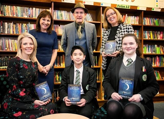 Author Sarah Crossan visits St Patrick's Academy, Lisburn. L-R - Pupils: Ralph Orong and Cassie McGann, year 10. With Liz Canning, BookTrust, Damian Smyth Head from Arts Council NI and Grainne McCann, Head of English.