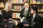 Author Sarah Crossan visits St Patrick's Academy, Lisburn. Pupils: Ralph Orong and Cassie McGann, year 10.