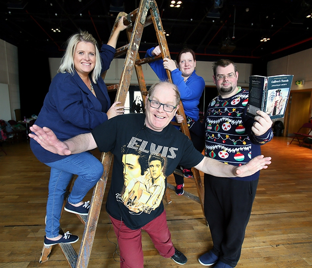 Pictured with Gilly Campbell, Arts Council of Northern Ireland, are Stage Beyond members, Frank Nelis, Bernadette Shiels and Bryan Sutherland at the rehearsals for Gulliver's Travels in 2018.