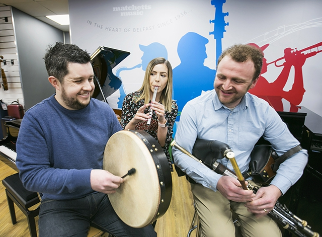 Pictured is Gary Dodsworth of Matchetts with Leanne Magee, Arts Council of Northern Ireland and Uilleann piper and instrument maker, Patrick O'Hare.