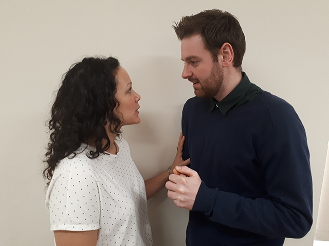Pictured is Stefan Dunbar, nephew of Enniskillen star Adrian Dunbar with Melissa Dean, a compelling mixed-race actress with Northern Irish roots, in a new play called Me You Us Them by Terra Nova Artistic Director, Andrea Montgomery.