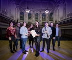 Pictured are, Lynette Fay, BBC NI traditional music mentor,  Linley Hamilton, BBC NI jazz mentor, Ciaran Scullion, Arts Council and John Toal, BBC NI classical mentor with four of the recipients