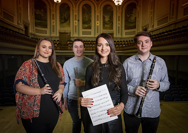 Pictured are four of the recipients, traditional music awardee, Martha Guiney, classical awardees, Andrew Douglas and William Curran with jazz awardee, Katharine Timoney.