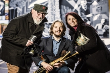 Pictured are ACES recipient from left Paul Kane (musician), Conor Lamb (uilleann piper) and Rachel Kelly (writer)