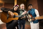 Pictured with internationally acclaimed composer and musician Neil Martin are Gabriela Alvardo (Mexico), and  Adnan Hossain (Bangladesh)