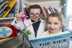 Pictured are book doctors in training, Oscar McCann (4) and Esmee Dynan (7)