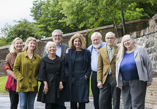 Pictured are:  Noirin McKinney (Arts Council) and Fran Brearton (Queen's University Belfast), with Leontia Flynn, Paula Meehan, Gerry Dawe, Michael Longley, Ciaran Carson and current Ireland Chair of Poetry Eiléan Ní Chuilleanáin.