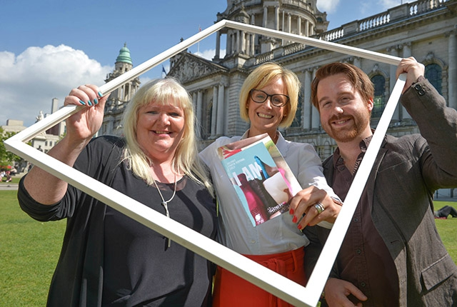 Pictured launching the 2017 Belfast Photo Festival is Deirdre Robb, Arts Development Officer Visual Arts Arts Council of Northern Ireland; Brona Whittaker, Arts Manager at Arts & Business NI; and Michael Weir, Festival Director at Belfast Photo Festival.