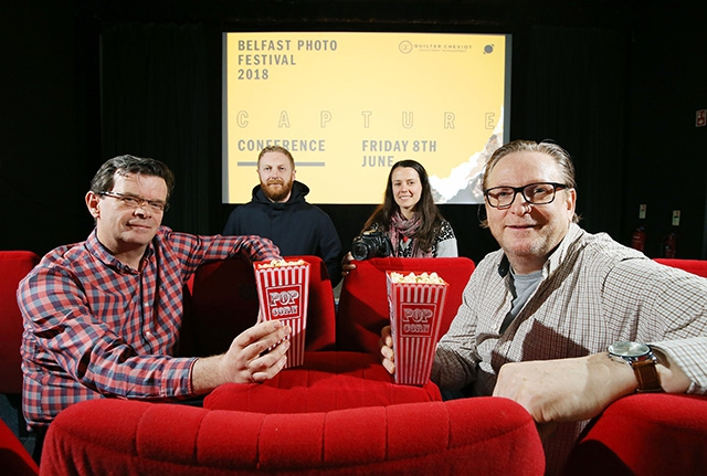 Launching the inaugural Capture Conference at the QFT are (back row) Kris Kelly from Enter Yes; Maggie McKeever, Festival Coordinator at Belfast Photo Festival; (front row) Barry Desmond from Alexander Boyd Displays and Phil Morrow from Retinize.