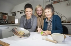 Local silversmith, Cara Murphy (left), winner of the £15,000 Rosy James Memorial Trust Award, pictured with enamellist, Deirdre McCrory (right) and Noirin McKinney, Director of Arts Development at the Arts Council of Northern Ireland (centre)