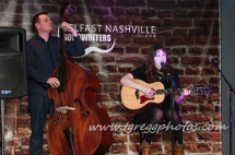 Ciara O'Neill pictured at her album Launch at the Belfast Nashville Songwriters Festival with John Conway on Double Bass