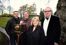 Actors Ciaran McMenamin and Adrian Dunbar pictured with Gilly Campbell and Sean Doran, Wilde Weekend festival director