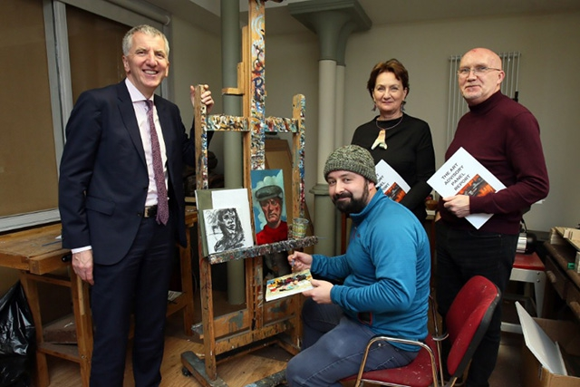 Pictured with Finance Minister, Máirtín Ó Muilleoir is artist Barry Kerr, Roisin McDonough, Arts Council of Northern Ireland, and Rev. Bill Shaw, 174 Trust